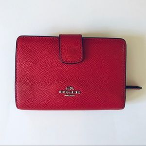 Coach red leather square shaped wallet